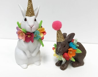 Bunny Birthday Cake topper- incldues two bunnies, Animal Cake Toppers, Birthday Cake Rabbit Topper