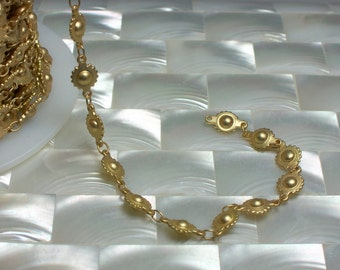 1 Foot Closed Link Ball and Cog Chain Steam punk Gold plated Closed Link Matte Finish Nickel Free Brass Jewelry Jewellery Supplies