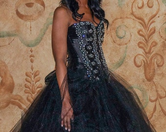 Custom Black Corset Crystal Embroidered Lace Prom Wedding Dress Evening Gown