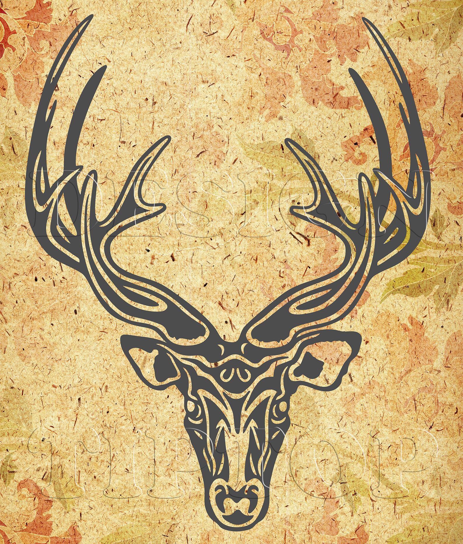 Deer head svg, deer svg, deer face,deer horns, deer dxf files, deer ...