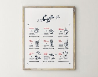 Printable Coffee Art, Coffee Sign, Coffee Printable, Coffee Print, Kitchen Decor, Kitchen Signs, Kitchen Wall Decor, Hand Drawn Art