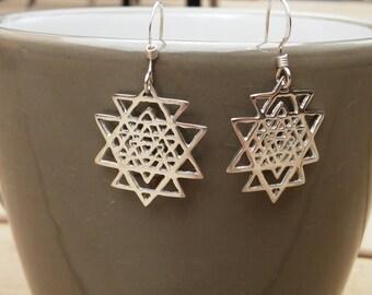 sri yantra earrings in sterling silver - sacred geometry - silver earrings