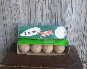 Vintage Boxed Dunlop Tennis Balls  -  Set of Four Vintage Dunlop Tennis Balls  -  Special Hard Court 1970s Dunlop Tennis Balls