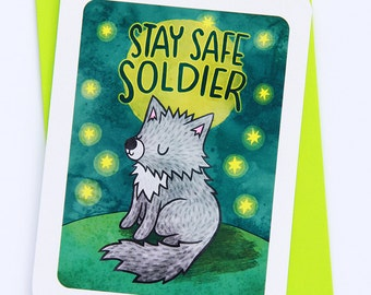 Stay Safe Soldier - wolf deployment card military card miss you care package card long distance military greeting card military deploy card