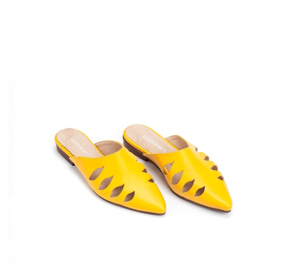Leather Comfortable Mules Leather Slide On Flats Leather Shoes Shoes Flats Slip Yellow Shoes Shoes Pointed Sandals Women's Flats fqwzFxfr