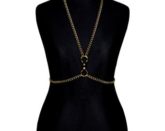 Gold Metal Body Chain Harness #II - bodychains, bodychain, gold plated, metal