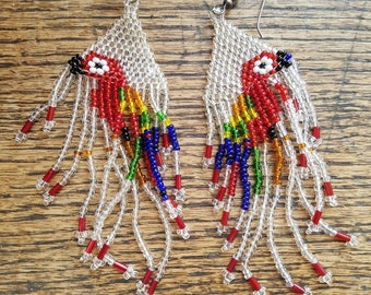 Tlingit Alaska Native Beaded Parrot Earrings