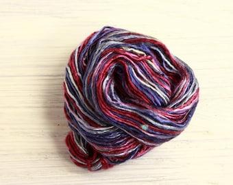 Worm Goo Silk Thread Mini Skein Hand Dyed Blueberry Swirl