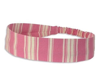 "Fabric Headband - Pink Ticking Stripe - Pick your size - fit toddlers to adults - 1-1/2"" wide"