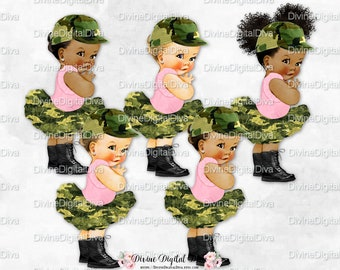 Ballerina Camo Tutu Pink Shirt Army Boots Cap | Vintage Baby Girl 3 Skin Tones Afro Puffs | Clipart Instant Download