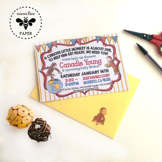 Curious george baby shower invitations with matching envelopes filmwisefo Image collections
