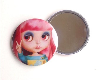 Blythe Doll - Pocket Mirror peace pink hair pastel girl