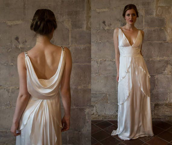 Silk wedding dress great gatsby wedding dress low back v zoom junglespirit Choice Image