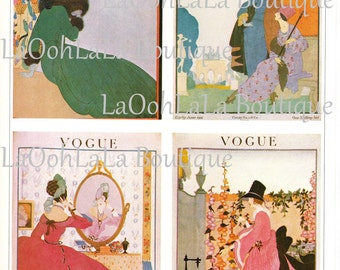 1918 Vogue Cover Print Set of 4 Front & Back 8 Lithograph Prints Total Victorian Edwardian Belle Époque Downton Abbey Fashion Wall Art Decor
