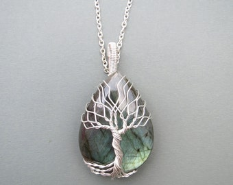 Tree Of Life Pendant, Tree Of Life Necklace, Wire Wrap Necklace, Wire Wrapping Stones, Silver jewelry, Labradorite stone, TOL057
