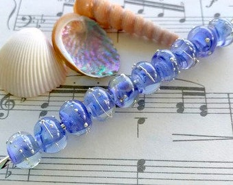 Blueberry Ice Cream 10 x Handmade Lampworked Pure Silver Trailed Blue Clear Frit Blended Glass Beads 10mm x 7mm