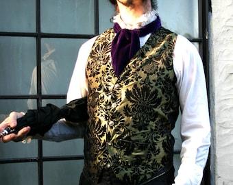 Emerald and Black Floral Satin Tapestry Gentlemen's Steampunk Vest