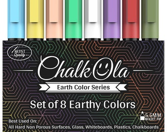 Chalkboard Chalk Markers - Pack of 8 Classic Earth color pens | Dust Free, Water-Based, Non-Toxic | Wet Erase Chalk Ink Pen
