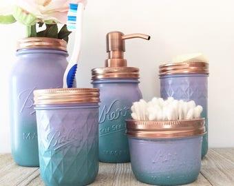 Mermaid Bathroom Decor   Girls Bathroom   Upcycled Jars   Ombre Jars    Purple   Teal   Rose Gold Bathroo,   Mason Jar Decor   Ombre Effect