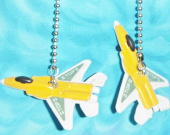 Set of Two ~ DIECAST Yellow FIGHTER JETS Aviation ~ Ceiling Fan Pull Chains