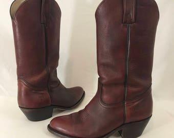 Vintage  Frye Oxblood Cowboy Boots Western Mens Size 9