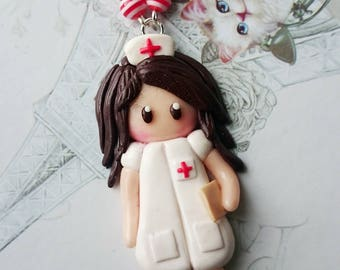 Doll nurse necklace polymer clay