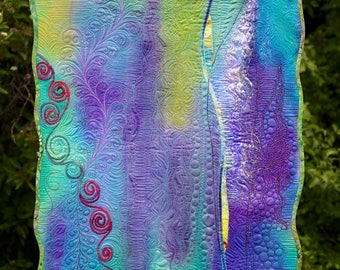 MarveLes NORTHERN LIGHTS No. 2 Art and Wall Quilt Purple Turquoise Lime