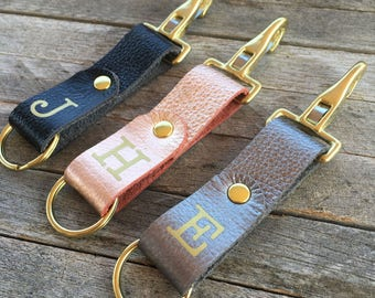 Realtor Closing Gifts, Personalized Keychain Leather, Monogrammed Keychain, Metallic Leather Key Fob, Custom Key Chain, Leather Keyring