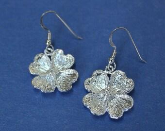sterling silver dangling dogwood earrings