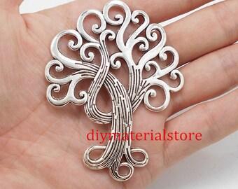 5 - Tree of Life, Tree of Life Pendant, Tree of Life Charm, Wish Tree, Life Tree, Tree, Tree Charms, Silver, Supplies, 74x58mm