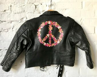 Vintage Leather Motorcycle Jacket with Hand-Painted Flower Peace Sign // Kid's Small