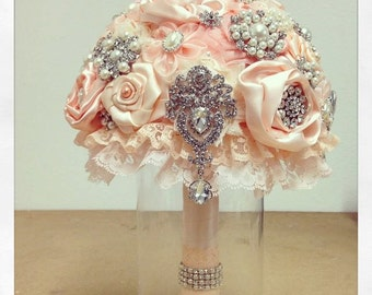 Bridal Brooch Bouquet, Powder Pink Bridal Bouquet, Wedding Bouquet, Bridal Accessories, Bridesmaids Flowers