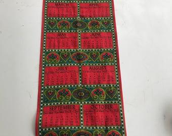 Vintage Irish Linen Tea Towel. 1977 Calendar Irish Linen. 1977.