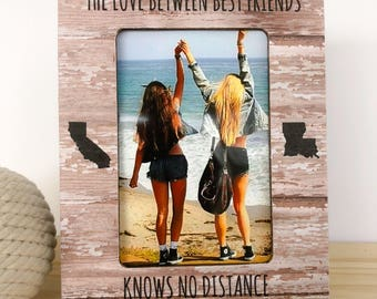 Long Distance Friendship States Frame Personalized Picture Frame The Love Between Best Friends Knows no Distance Gift Long Distance Friend