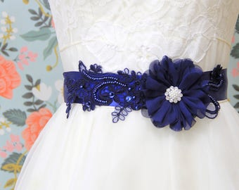 Navy Blue  Beaded  Lace and Flower Sash, Bridal Navy Sash, Bridesmaid Sash, Flower Girl Sash,Navy Sash Belt  / SH-40F