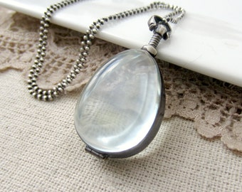 Glass Locket Necklace, Glass Photo Locket, Oxidize Silver, Sterling Silver Locket, Modern Locket, Push Gift, Clear Locket, Maternity Jewelry
