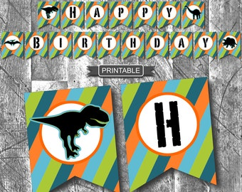 DIY Boy or Girl Dinosaur Birthday Party Decorations Banner Garland Bunting Digital Printable PDF Instant Download-Happy Birthday