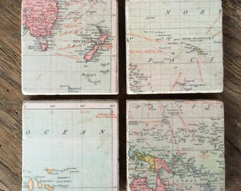 Map Stone Tile Coasters