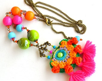 long boho necklace, tassel necklace, frida kahlo, festival necklace, mexican necklace, bright neon necklace, funky necklace, large hippie
