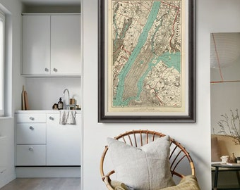 New York Vintage Map 1893, New York Map, Manhattan Map Poster, City Map, New York Art, Old Map- CP112