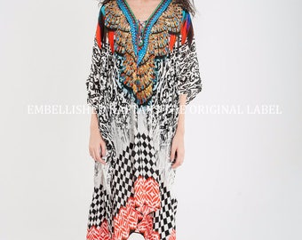 Kimono Sleeves Resort Beach wear Soft Silky Kaftan Designer digital Print SLP411