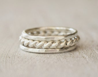 Three Sterling Silver Stacking Rings  - Stackers - Set - Stack - Thick Twist Ring - Silver Bands - Hammered - Ethical Silver - Everyday Wear