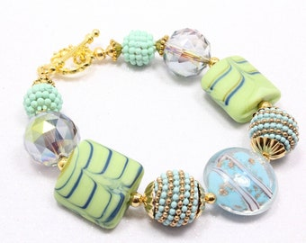 Blue and Green Spring Bracelet, Boho Bracelet, Mixed Glass and Polymer Clay, Hildie and Jo, Artisan Beads, Colorful Pond, Mother's Day Gift