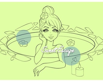 A day in the Spa Digital Stamp