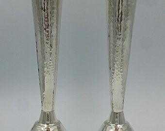 "A pair of 925 handmade sterling silver ""Pesach"" candlesticks, hammered or Smooth"