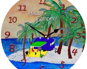 """Happy Camper Blue Trailer large Wall Clock 11"""" from my art"""