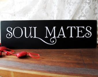 Soul Mates Wood Sign Wedding Romantic Valentine Love Wall Decor