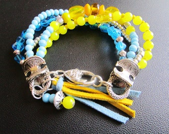 Blue and yellow bracelet ethnic beads.