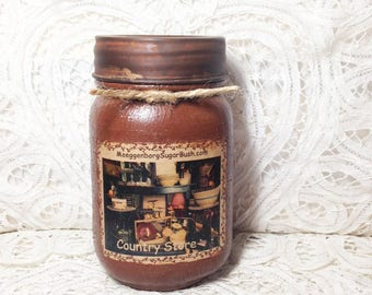 Jar Candle, Country Store, Pint jar candle, Grungy Jar Candles, primitive scent blend, 1 pint, Housewarming gift, Moeggenborg Sugar Bush