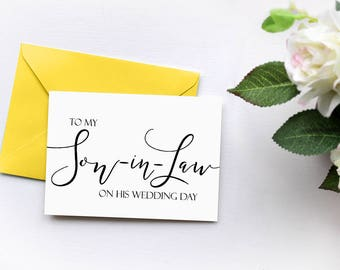 To My Son in Law on His Wedding Day, Wedding Thank You Card, Mother In Law Card, Father In Law Card, In Laws Gift Card, Daughter in Law Gift